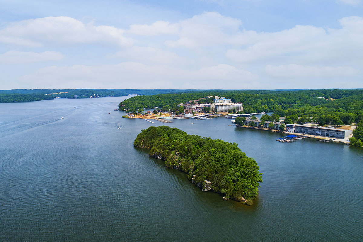 Island with Margritaville view at Lake of the Ozarks