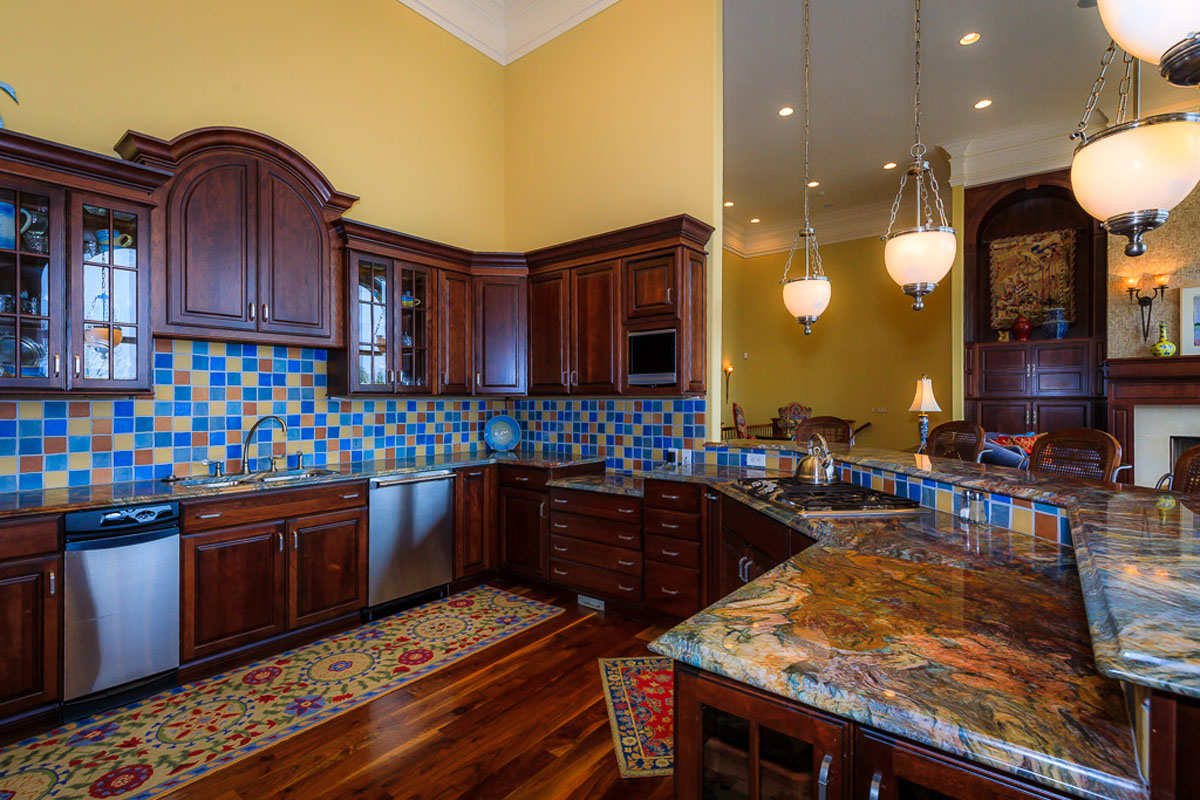Four Seasons Home Kitchen - Blue Granite and Backsplace